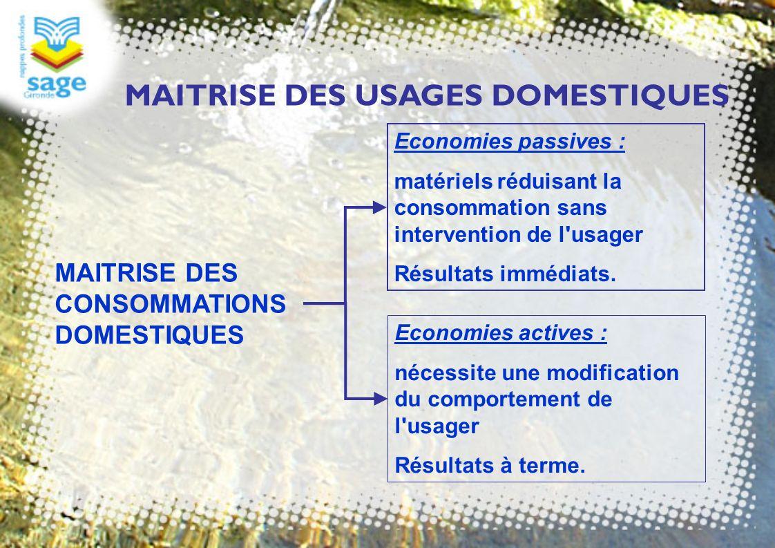 Economies passives : matériels réduisant la consommation sans intervention de l'usager Résultats immédiats. MAITRISE DES CONSOMMATIONS DOMESTIQUES Eco