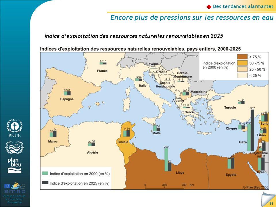 Avec le soutien de la Commission Européenne 11 Des tendances alarmantes Encore plus de pressions sur les ressources en eau Indice dexploitation des ressources naturelles renouvelables en 2025 Source : Plan Bleu, J.