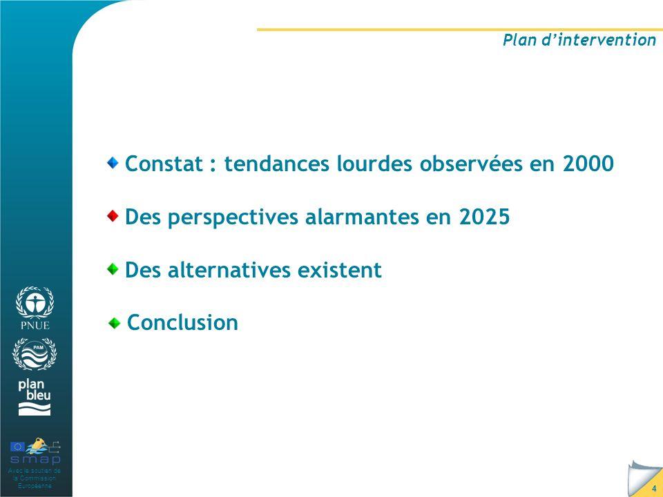 Avec le soutien de la Commission Européenne 4 Plan dintervention Constat : tendances lourdes observées en 2000 Des perspectives alarmantes en 2025 Des