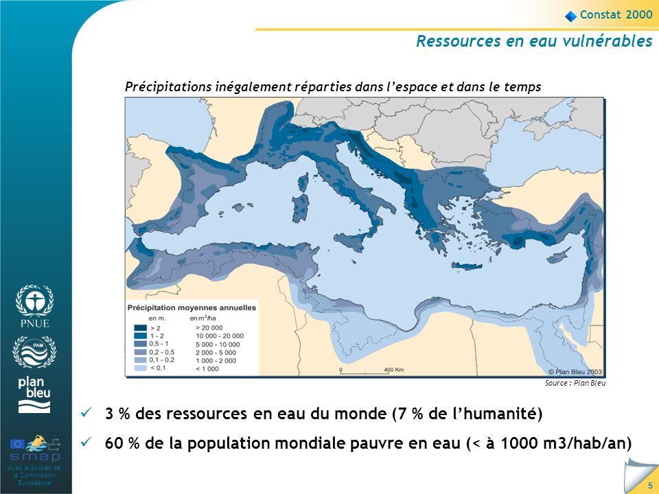 Avec le soutien de la Commission Européenne 5 Constat 2000 Ressources en eau vulnérables 3 % des ressources en eau du monde (7 % de lhumanité) 60 % de la population mondiale pauvre en eau (< à 1000 m3/hab/an) Précipitations inégalement réparties dans lespace et dans le temps Source : Plan Bleu