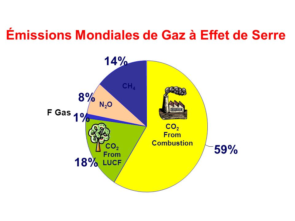 18% 1% 8% 14% 59% Émissions Mondiales de Gaz à Effet de Serre CH 4 N2ON2O F Gas CO 2 From Combustion CO 2 From LUCF