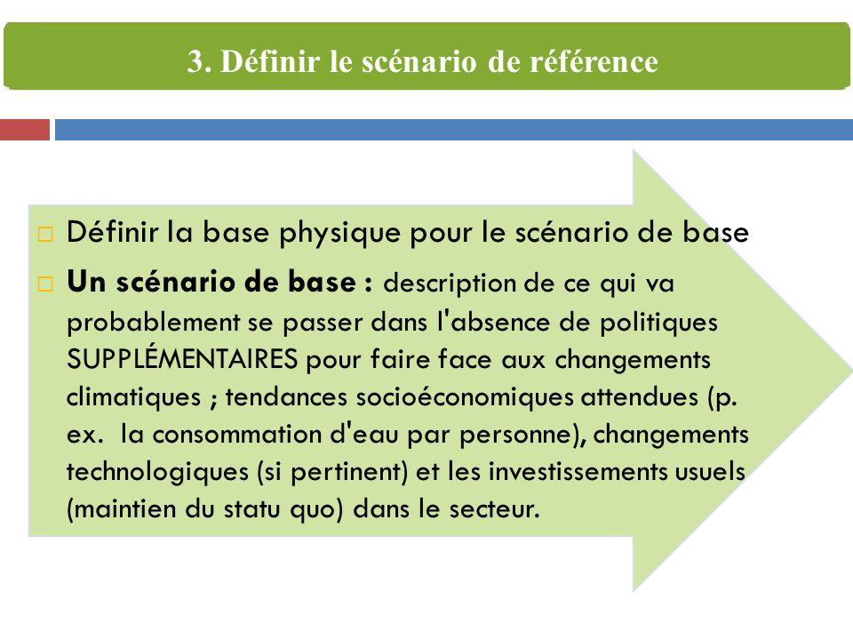Définir la base physique pour le scénario de base Un scénario de base : description de ce qui va probablement se passer dans l'absence de politiques S
