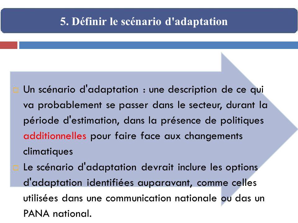 Un scénario d'adaptation : une description de ce qui va probablement se passer dans le secteur, durant la période d'estimation, dans la présence de po