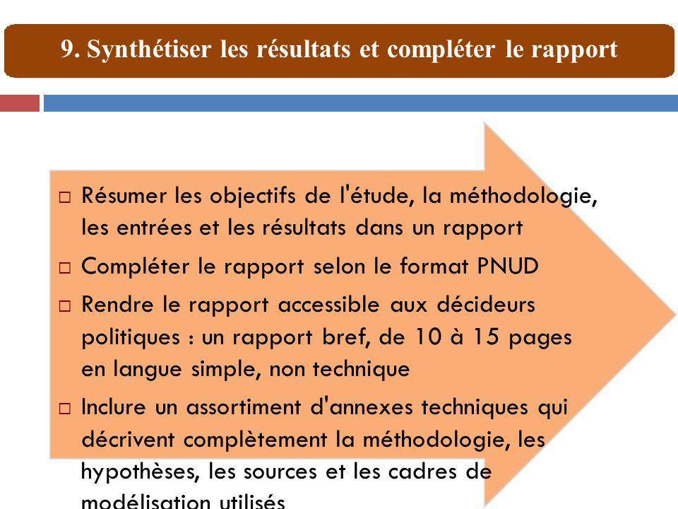 Résumer les objectifs de l'étude, la méthodologie, les entrées et les résultats dans un rapport Compléter le rapport selon le format PNUD Rendre le ra