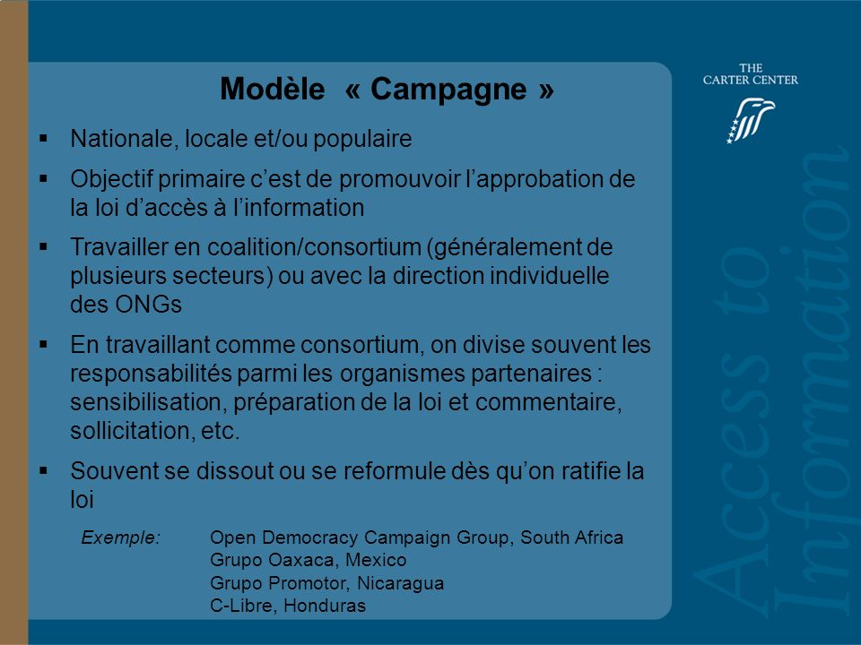 Training Slide Headline Goes Here and Second Line Goes Here Access to Information: Bolivia Modèle « Campagne » Nationale, locale et/ou populaire Objec