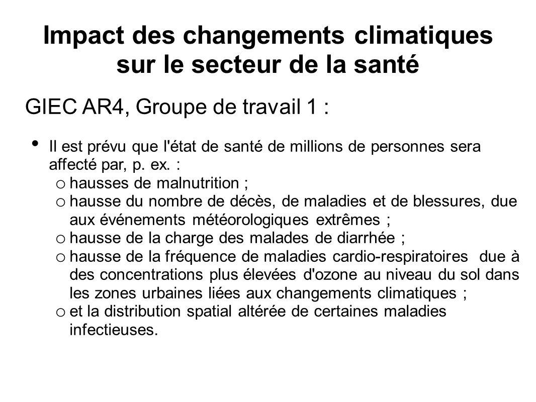 Impact des changements climatiques sur le secteur de la santé GIEC AR4, Groupe de travail 1 : Il est prévu que l état de santé de millions de personnes sera affecté par, p.