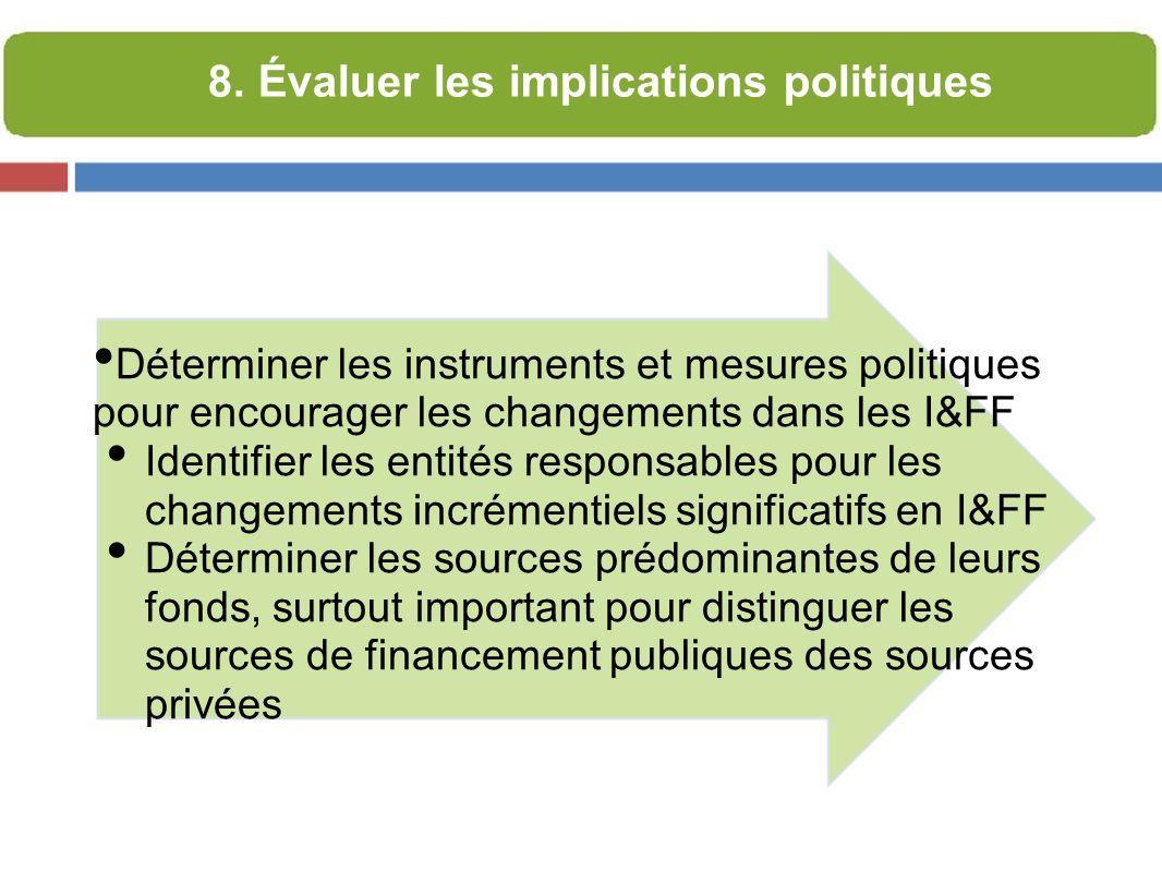 Déterminer les instruments et mesures politiques pour encourager les changements dans les I&FF Identifier les entités responsables pour les changements incrémentiels significatifs en I&FF Déterminer les sources prédominantes de leurs fonds, surtout important pour distinguer les sources de financement publiques des sources privées 8.