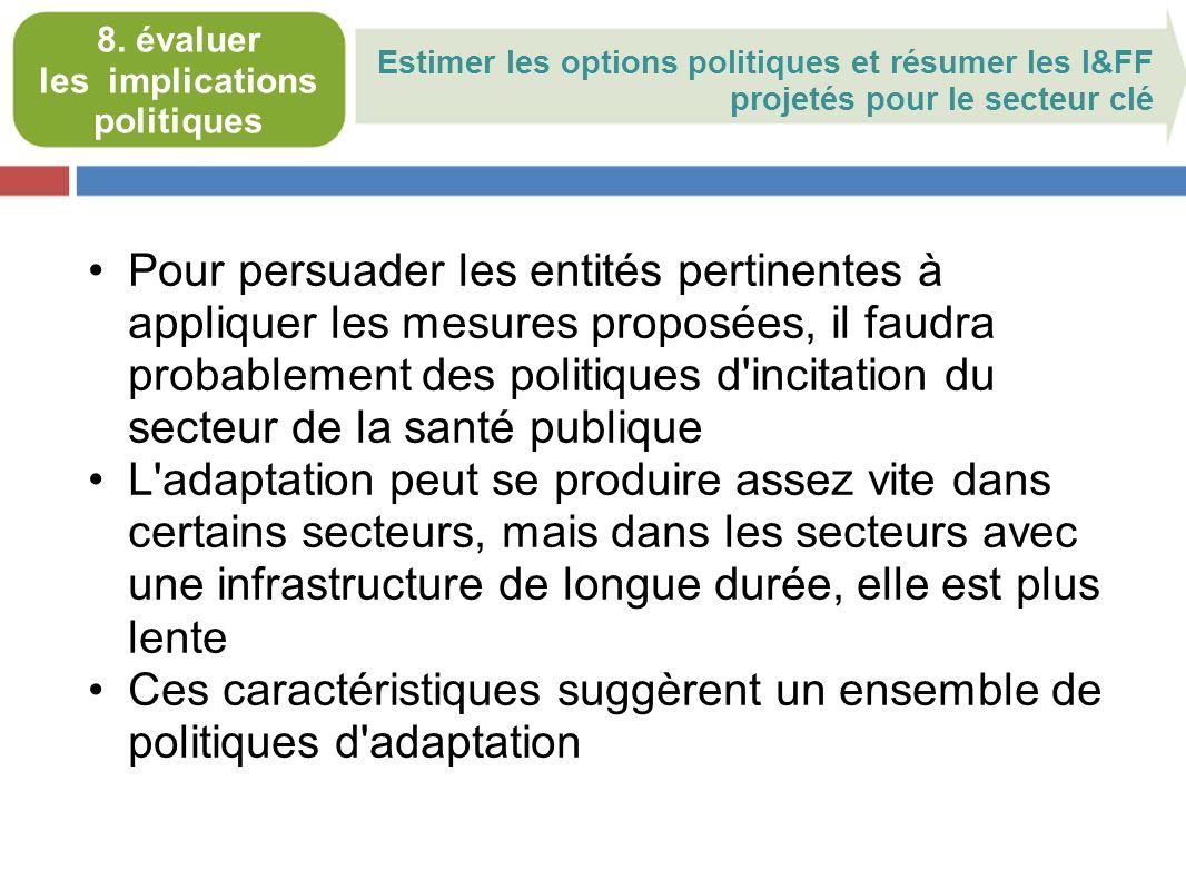 Estimer les options politiques et résumer les I&FF projetés pour le secteur clé 8.