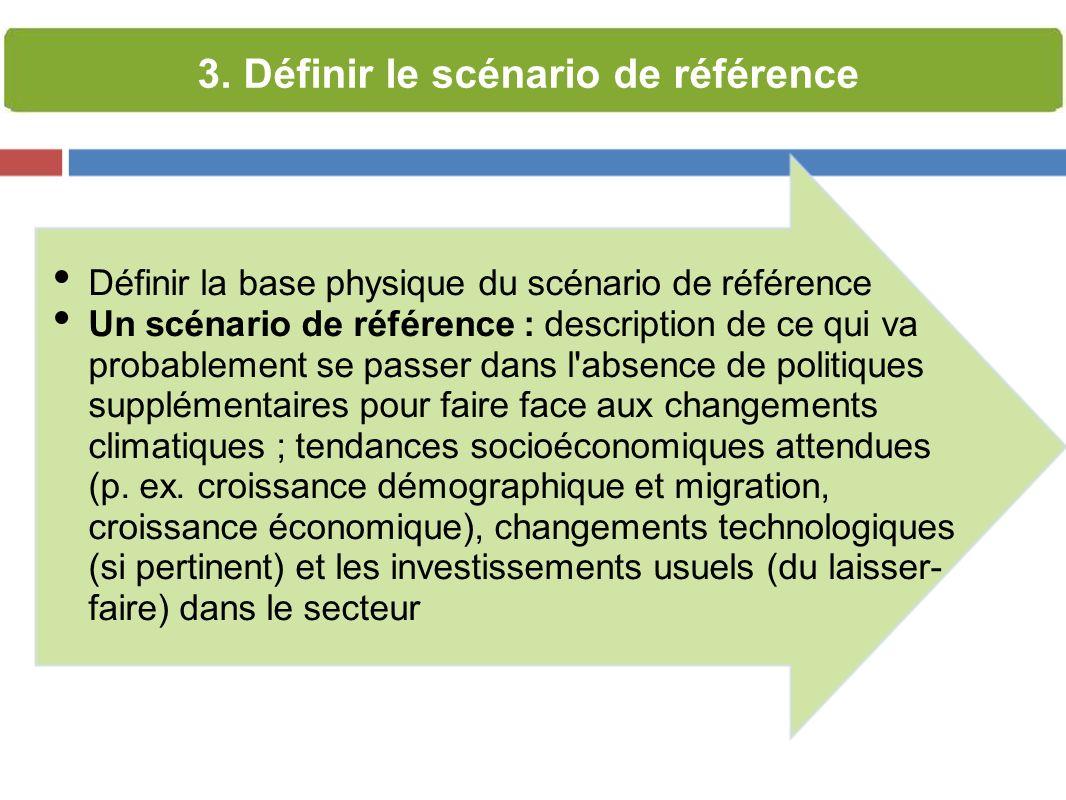 Définir la base physique du scénario de référence Un scénario de référence : description de ce qui va probablement se passer dans l absence de politiques supplémentaires pour faire face aux changements climatiques ; tendances socioéconomiques attendues (p.