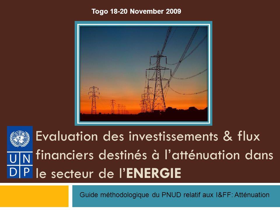 Evaluation des investissements & flux financiers destinés à latténuation dans le secteur de lENERGIE Guide méthodologique du PNUD relatif aux I&FF: Atténuation Togo 18-20 November 2009