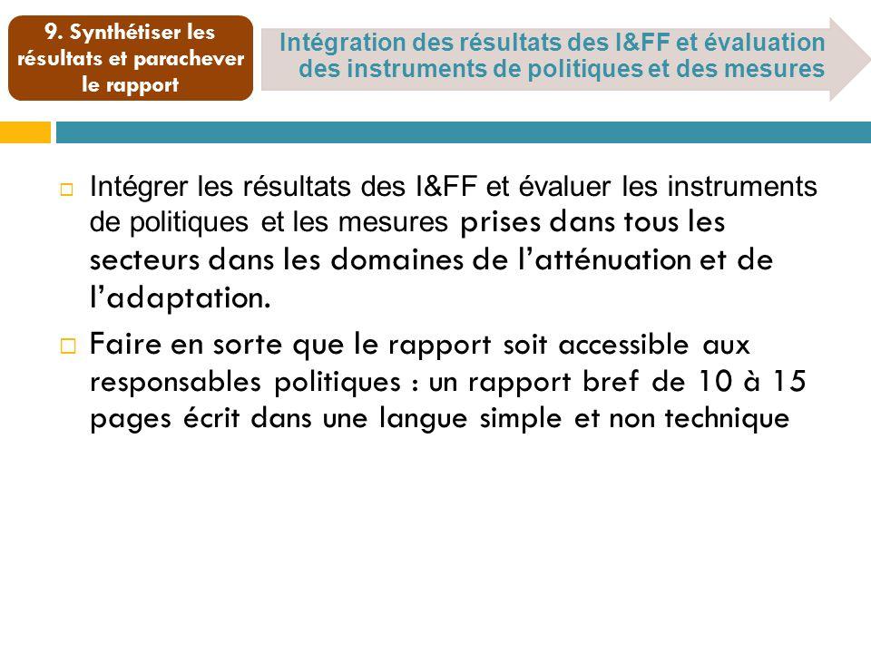 Intégration des résultats des I&FF et évaluation des instruments de politiques et des mesures 9.