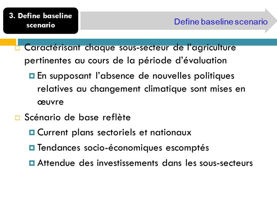 3. Define baseline scenario Define baseline scenario Caractérisant chaque sous-secteur de lagriculture pertinentes au cours de la période dévaluation