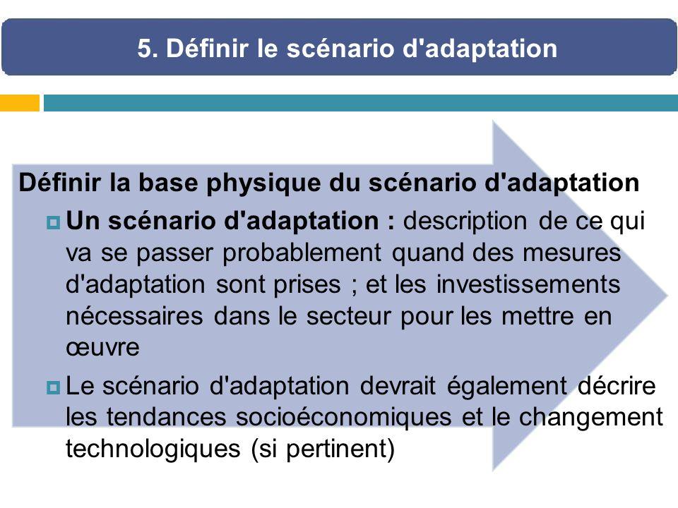 Définir la base physique du scénario d'adaptation Un scénario d'adaptation : description de ce qui va se passer probablement quand des mesures d'adapt