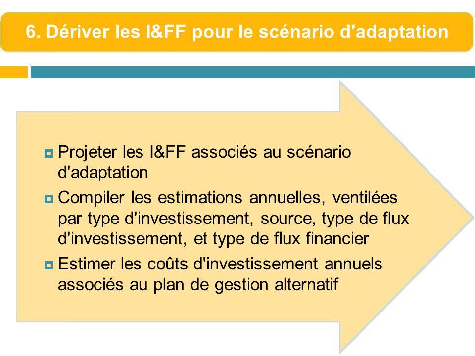 Projeter les I&FF associés au scénario d'adaptation Compiler les estimations annuelles, ventilées par type d'investissement, source, type de flux d'in