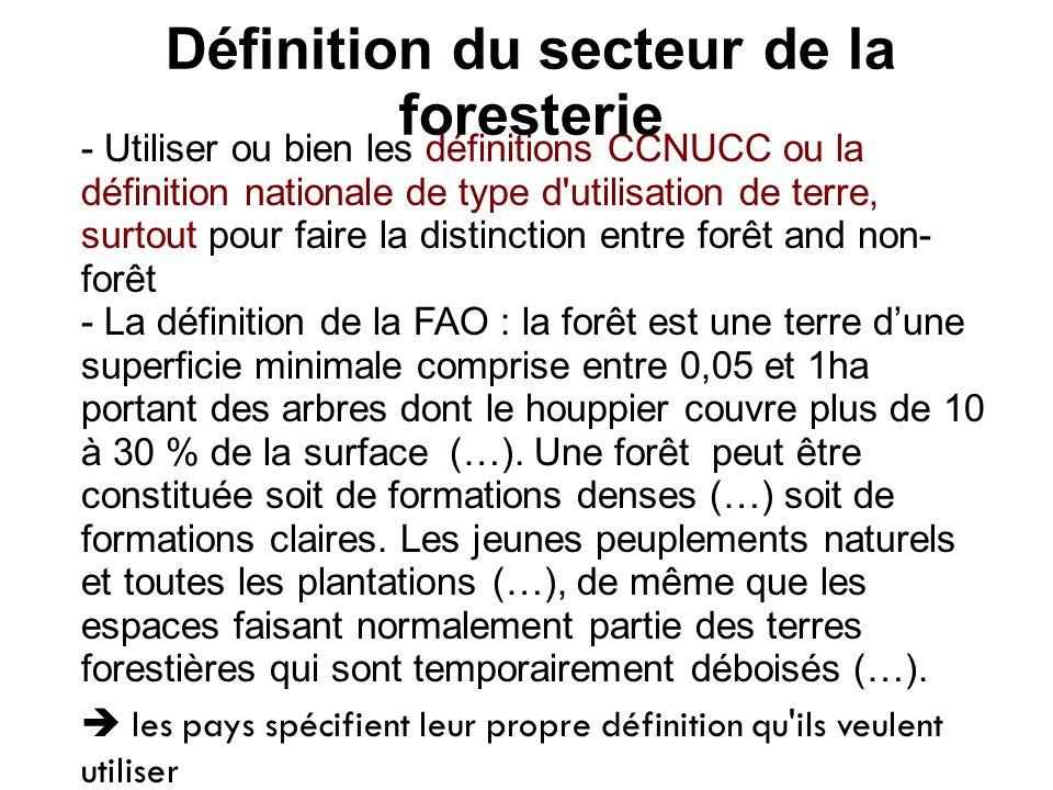 - Utiliser ou bien les définitions CCNUCC ou la définition nationale de type d'utilisation de terre, surtout pour faire la distinction entre forêt and