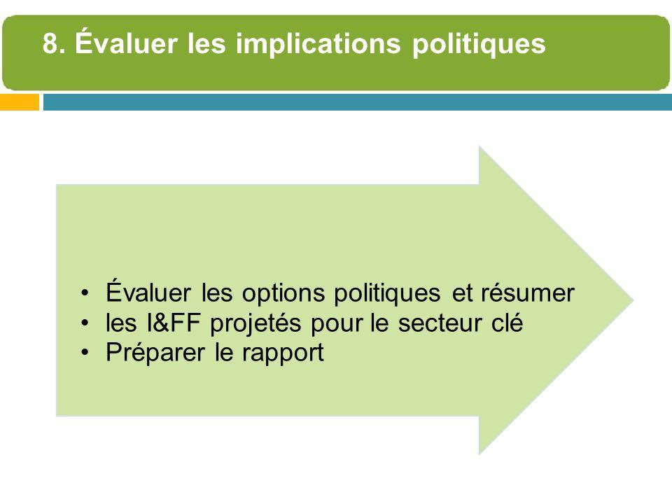 Évaluer les options politiques et résumer les I&FF projetés pour le secteur clé Préparer le rapport 8. Évaluer les implications politiques