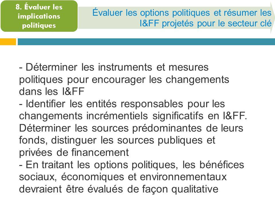 Évaluer les options politiques et résumer les I&FF projetés pour le secteur clé 8. Évaluer les implications politiques - Déterminer les instruments et