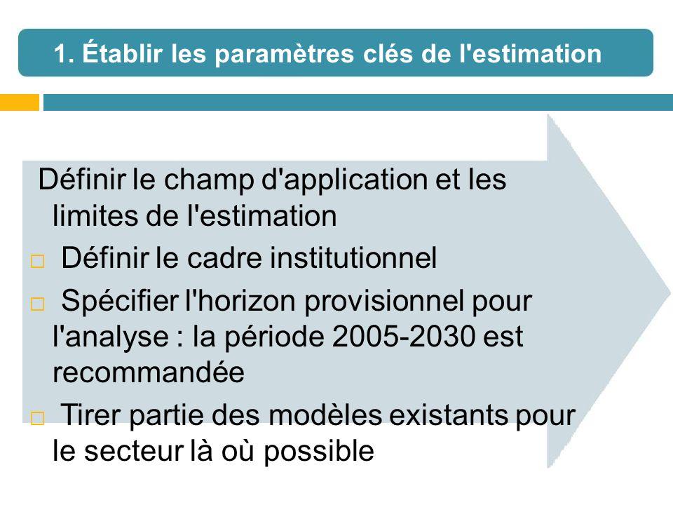 Définir le champ d'application et les limites de l'estimation Définir le cadre institutionnel Spécifier l'horizon provisionnel pour l'analyse : la pér