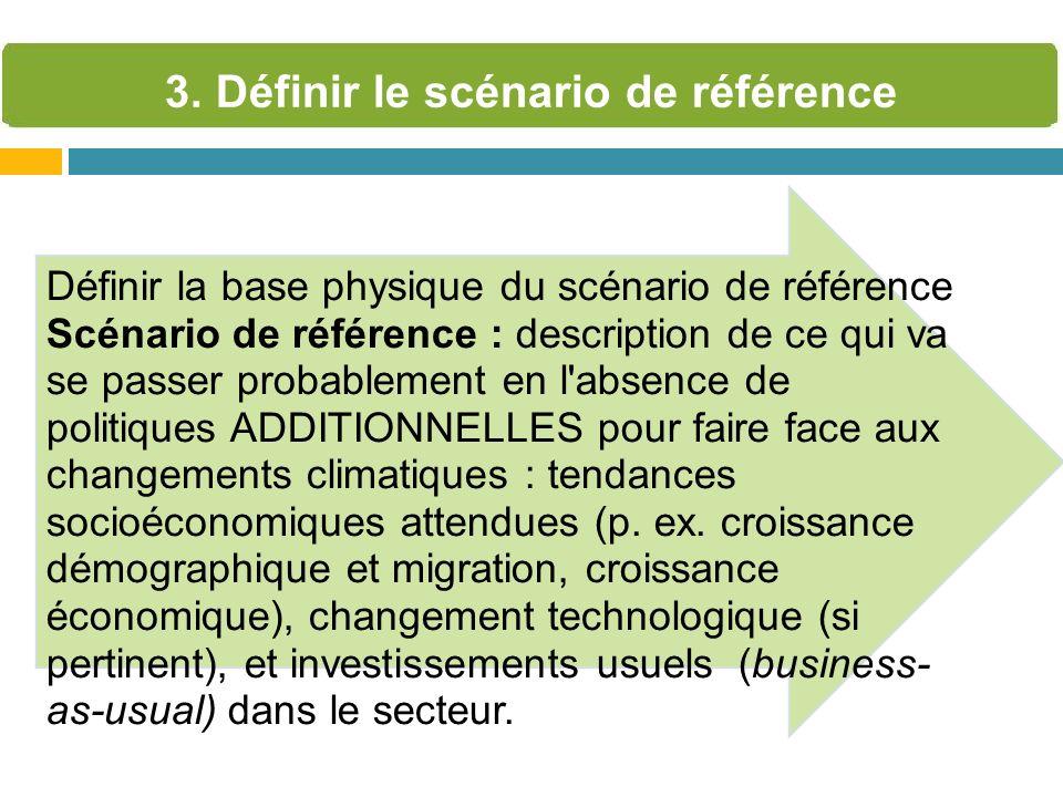 Définir la base physique du scénario de référence Scénario de référence : description de ce qui va se passer probablement en l'absence de politiques A