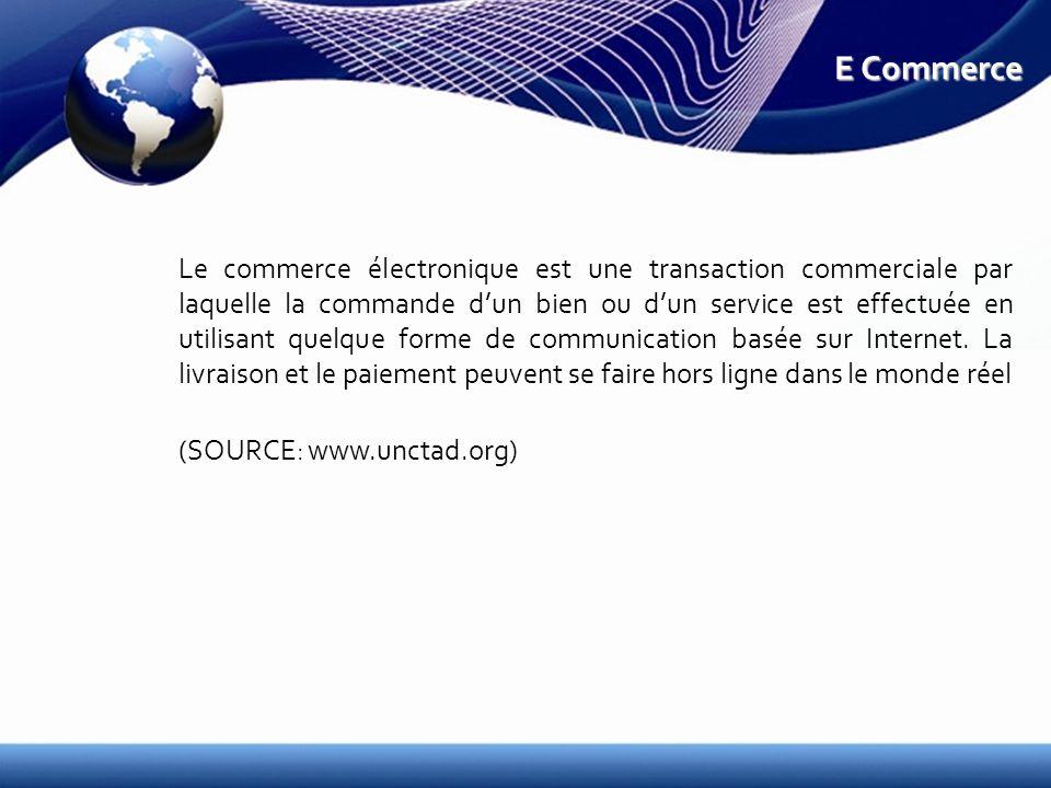 E Commerce Le commerce électronique est une transaction commerciale par laquelle la commande dun bien ou dun service est effectuée en utilisant quelque forme de communication basée sur Internet.