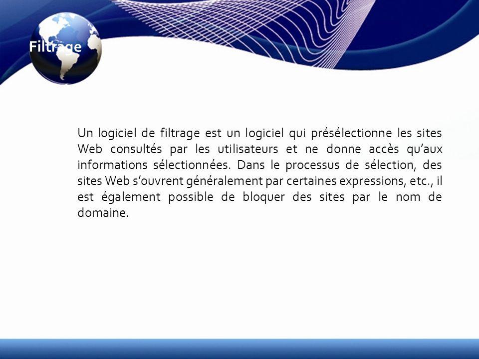 Filtrage Un logiciel de filtrage est un logiciel qui présélectionne les sites Web consultés par les utilisateurs et ne donne accès quaux informations sélectionnées.
