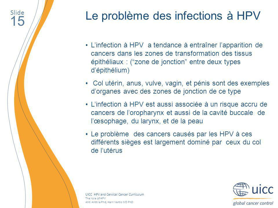 UICC HPV and Cervical Cancer Curriculum The role of HPV Ahti Anttila Phd, Harri Vertio MD PhD Slide 15 Le problème des infections à HPV Linfection à H