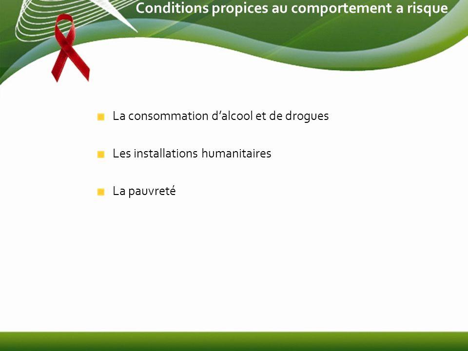 Conditions propices au comportement a risque La consommation dalcool et de drogues Les installations humanitaires La pauvreté