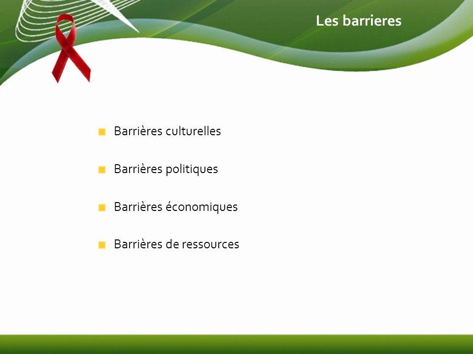 Les barrieres Barrières culturelles Barrières politiques Barrières économiques Barrières de ressources