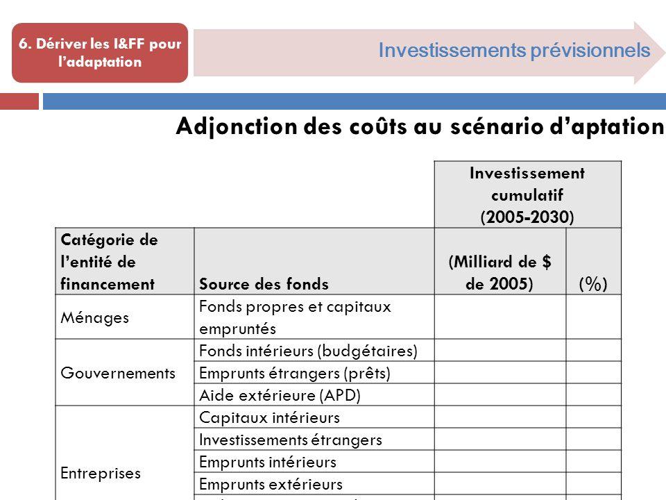 Investissements prévisionnels 6.