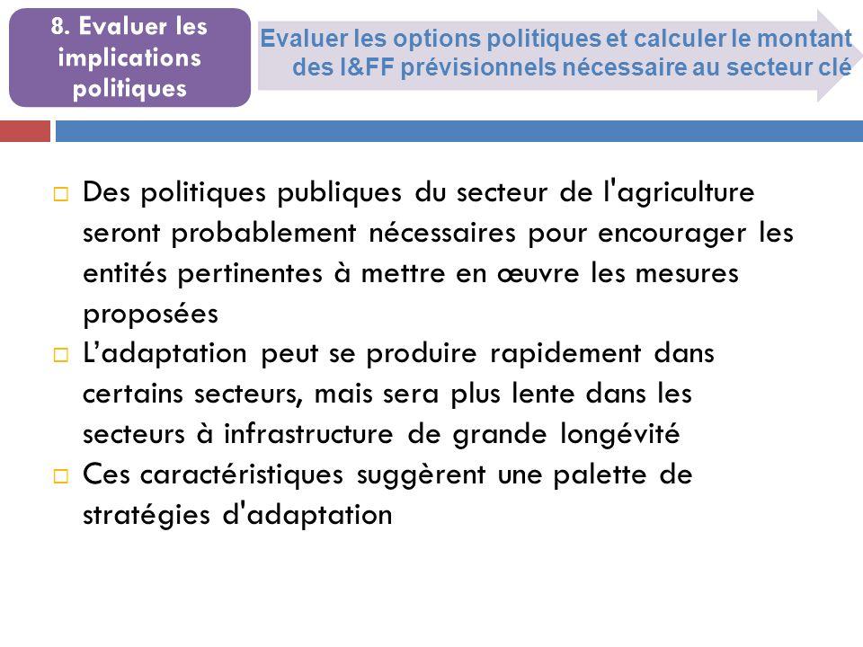 Evaluer les options politiques et calculer le montant des I&FF prévisionnels nécessaire au secteur clé 8.