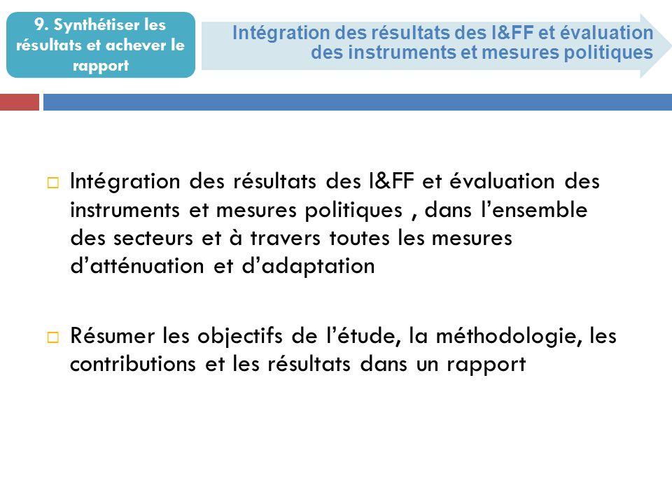 Intégration des résultats des I&FF et évaluation des instruments et mesures politiques 9.
