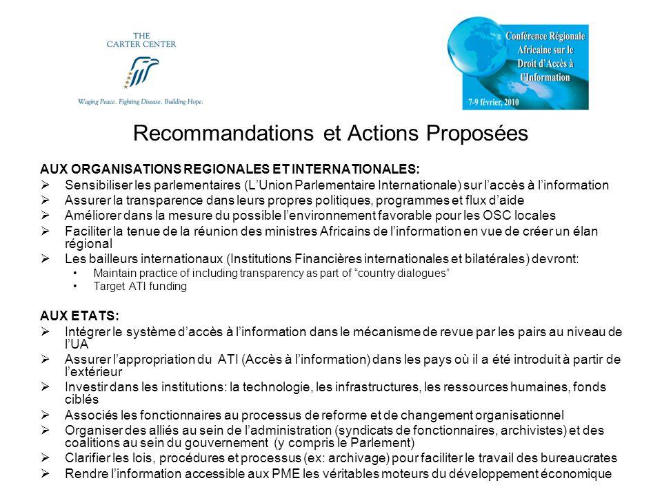 Recommandations et Actions Proposées AUX ORGANISATIONS REGIONALES ET INTERNATIONALES: Sensibiliser les parlementaires (LUnion Parlementaire Internatio