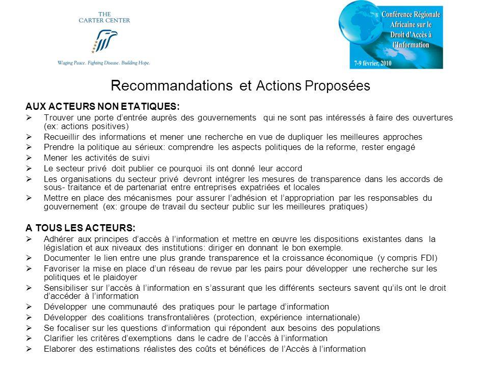 Recommandations et Actions Proposées AUX ACTEURS NON ETATIQUES: Trouver une porte dentrée auprès des gouvernements qui ne sont pas intéressés à faire