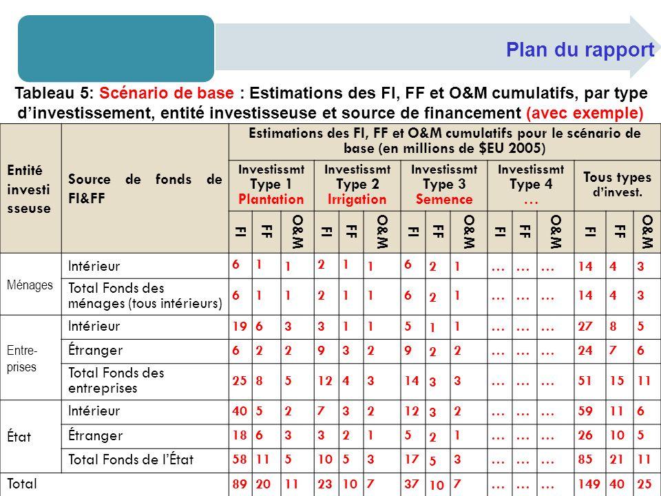 Plan du rapport Entité investi sseuse Source de fonds de FI&FF Estimations des FI, FF et O&M cumulatifs pour le scénario de base (en millions de $EU 2005) Investissmt Type 1 Plantation Investissmt Type 2 Irrigation Investissmt Type 3 Semence Investissmt Type 4 … Tous types dinvest.