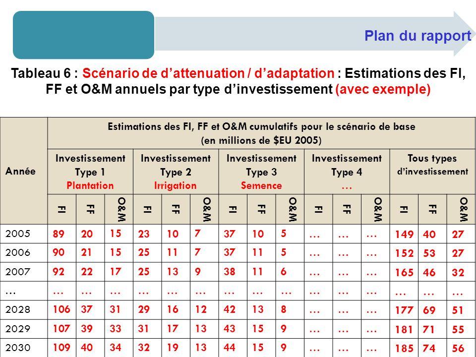 Plan du rapport Tableau 6 : Scénario de dattenuation / dadaptation : Estimations des FI, FF et O&M annuels par type dinvestissement (avec exemple) Ann