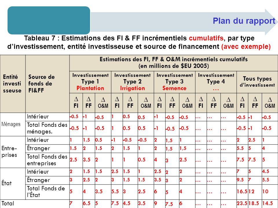 Plan du rapport Tableau 7 : Estimations des FI & FF incrémentiels cumulatifs, par type dinvestissement, entité investisseuse et source de financement (avec exemple) Entité investi sseuse Source de fonds de FI&FF Estimations des FI, FF & O&M incrémentiels cumulatifs (en millions de $EU 2005) Investissement Type 1 Plantation Investissement Type 2 Irrigation Investissement Type 3 Semence Investissement Type 4 … Tous types dinvestissemt FI FF O&M FI FF O&M FI FF O&M FI FF O&M FI FF O&M Ménages Intérieur -0.5 -0.5 10.5 -0.5 ……… -0.5 Total Fonds des ménages.