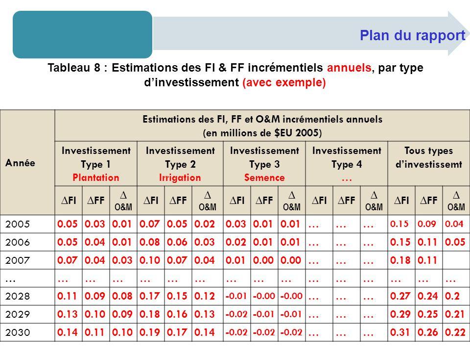 Plan du rapport Tableau 8 : Estimations des FI & FF incrémentiels annuels, par type dinvestissement (avec exemple) Année Estimations des FI, FF et O&M incrémentiels annuels (en millions de $EU 2005) Investissement Type 1 Plantation Investissement Type 2 Irrigation Investissement Type 3 Semence Investissement Type 4 … Tous types dinvestissemt FIFF O&M FIFF O&M FIFF O&M FIFF O&M FIFF O&M 2005 0.050.03 0.01 0.070.05 0.02 0.030.01 …… … 0.150.090.04 20060.050.040.010.080.060.030.020.01 ………0.150.110.05 20070.070.040.030.100.070.040.010.00 ………0.180.11 ………………………………………… 20280.110.090.080.170.150.12 -0.01-0.00 ………0.270.240.2 20290.130.100.090.180.160.13 -0.02-0.01 ………0.290.250.21 20300.140.110.100.190.170.14 -0.02 ………0.310.260.22