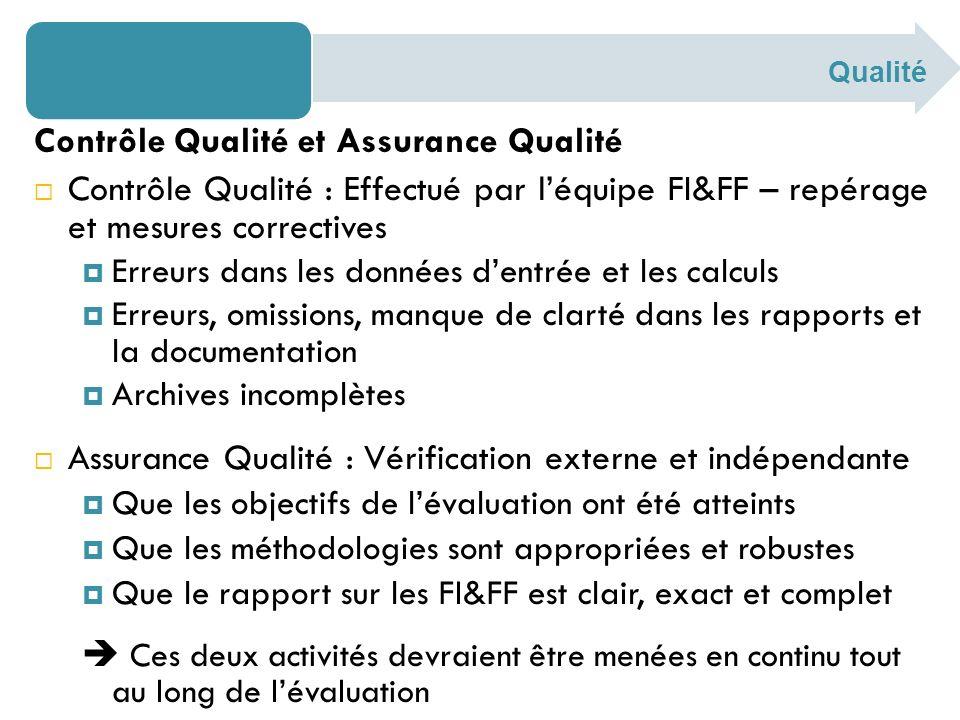 Contrôle Qualité et Assurance Qualité Contrôle Qualité : Effectué par léquipe FI&FF – repérage et mesures correctives Erreurs dans les données dentrée