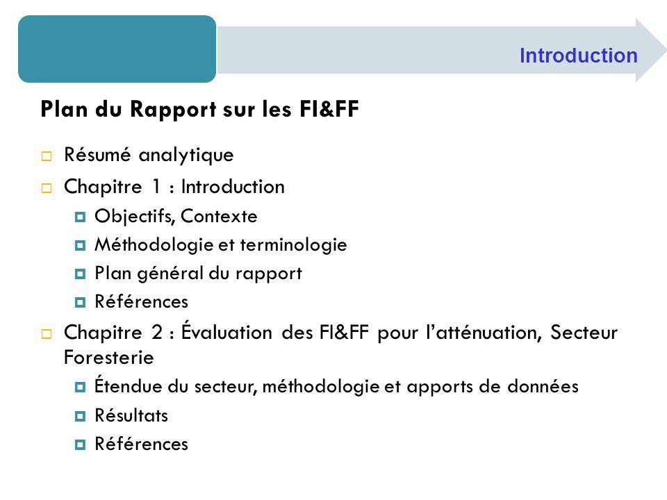Plan du Rapport sur les FI&FF Résumé analytique Chapitre 1 : Introduction Objectifs, Contexte Méthodologie et terminologie Plan général du rapport Réf