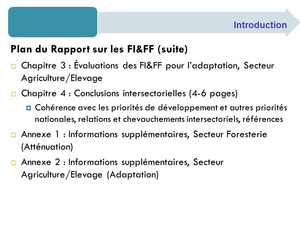 Plan du Rapport sur les FI&FF (suite) Chapitre 3 : Évaluations des FI&FF pour ladaptation, Secteur Agriculture/Elevage Chapitre 4 : Conclusions inters