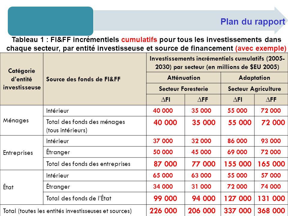 Catégorie dentité investisseuse Source des fonds de FI&FF Investissements incrémentiels cumulatifs (2005- 2030) par secteur (en millions de $EU 2005)