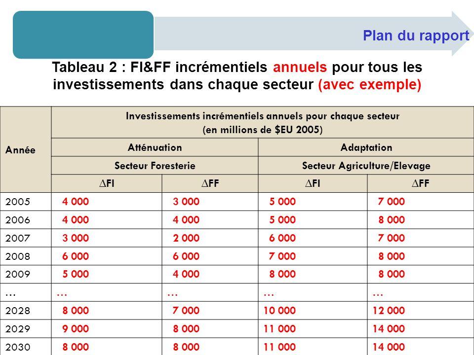 Plan du rapport Tableau 2 : FI&FF incrémentiels annuels pour tous les investissements dans chaque secteur (avec exemple) Année Investissements incrémentiels annuels pour chaque secteur (en millions de $EU 2005) AtténuationAdaptation Secteur ForesterieSecteur Agriculture/Elevage FIFFFIFF 2005 4 000 3 000 5 000 7 000 2006 4 000 5 000 8 000 2007 3 000 2 000 6 000 7 000 2008 6 000 7 000 8 000 2009 5 000 4 000 8 000 …………… 2028 8 000 7 00010 00012 000 2029 9 000 8 00011 00014 000 2030 8 000 11 00014 000