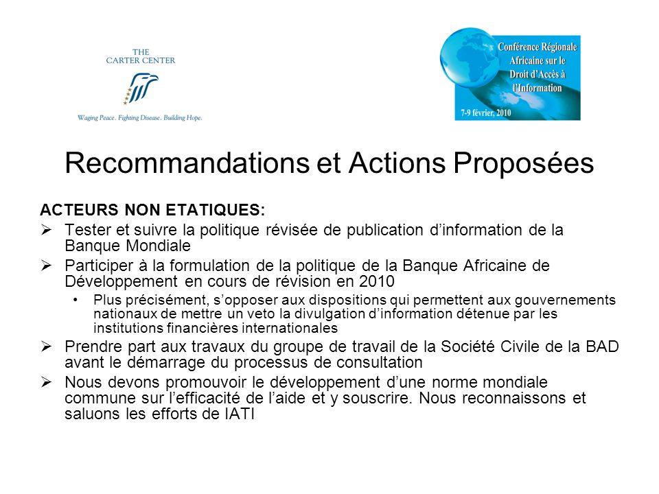 Recommandations et Actions Proposées ACTEURS NON ETATIQUES: Tester et suivre la politique révisée de publication dinformation de la Banque Mondiale Pa