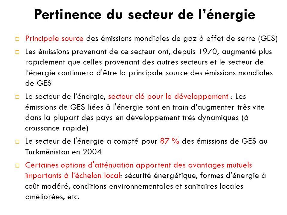 Pertinence du secteur de lénergie Principale source des émissions mondiales de gaz à effet de serre (GES) Les émissions provenant de ce secteur ont, depuis 1970, augmenté plus rapidement que celles provenant des autres secteurs et le secteur de lénergie continuera d être la principale source des émissions mondiales de GES Le secteur de lénergie, secteur clé pour le développement : Les émissions de GES liées à l énergie sont en train daugmenter très vite dans la plupart des pays en développement très dynamiques (à croissance rapide) Le secteur de l énergie a compté pour 87 % des émissions de GES au Turkménistan en 2004 Certaines options d atténuation apportent des avantages mutuels importants à léchelon local: sécurité énergétique, formes d énergie à coût modéré, conditions environnementales et sanitaires locales améliorées, etc.