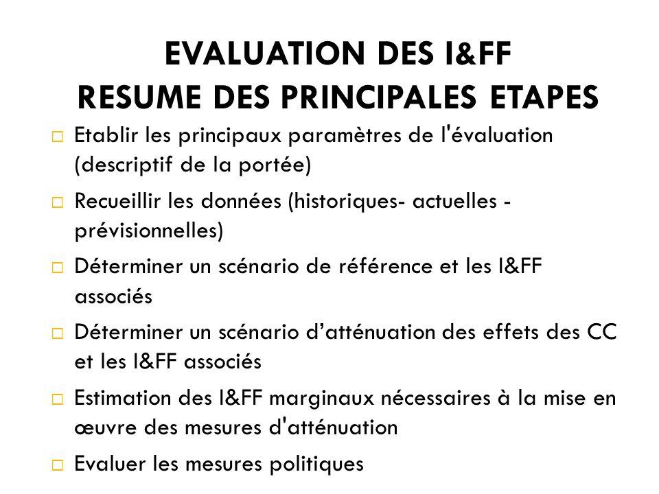 EVALUATION DES I&FF RESUME DES PRINCIPALES ETAPES Etablir les principaux paramètres de l évaluation (descriptif de la portée) Recueillir les données (historiques- actuelles - prévisionnelles) Déterminer un scénario de référence et les I&FF associés Déterminer un scénario datténuation des effets des CC et les I&FF associés Estimation des I&FF marginaux nécessaires à la mise en œuvre des mesures d atténuation Evaluer les mesures politiques