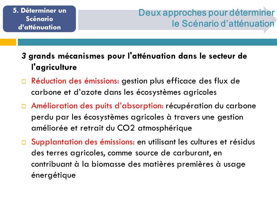 Deux approches pour déterminer le Scénario datténuation 3 grands mécanismes pour l atténuation dans le secteur de l agriculture Réduction des émissions: gestion plus efficace des flux de carbone et dazote dans les écosystèmes agricoles Amélioration des puits dabsorption: récupération du carbone perdu par les écosystèmes agricoles à travers une gestion améliorée et retrait du CO2 atmosphérique Supplantation des émissions: en utilisant les cultures et résidus des terres agricoles, comme source de carburant, en contribuant à la biomasse des matières premières à usage énergétique