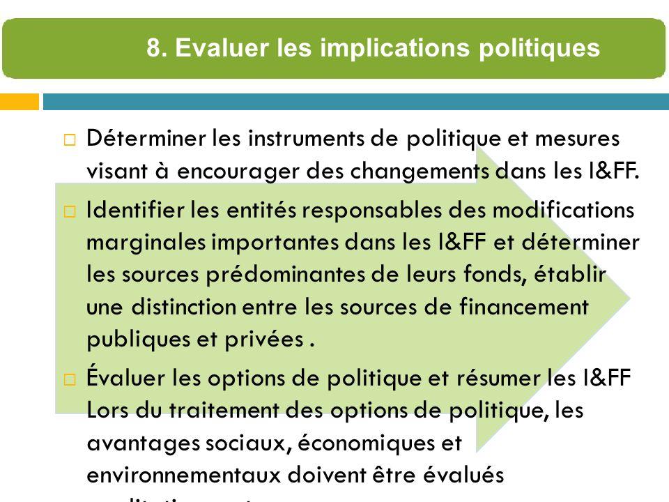 Déterminer les instruments de politique et mesures visant à encourager des changements dans les I&FF.