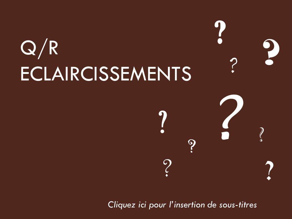 Q/R ECLAIRCISSEMENTS Cliquez ici pour linsertion de sous-titres
