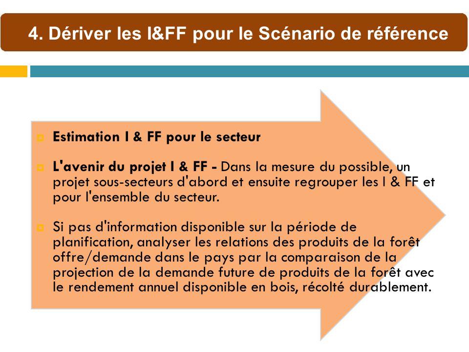 Estimation I & FF pour le secteur L avenir du projet I & FF - Dans la mesure du possible, un projet sous-secteurs d abord et ensuite regrouper les I & FF et pour l ensemble du secteur.