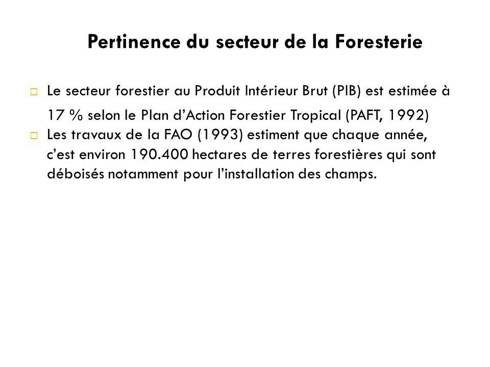 Le secteur forestier au Produit Intérieur Brut (PIB) est estimée à 17 % selon le Plan dAction Forestier Tropical (PAFT, 1992) Les travaux de la FAO (1993) estiment que chaque année, cest environ 190.400 hectares de terres forestières qui sont déboisés notamment pour linstallation des champs.